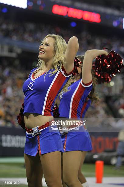 Members of the Buffalo Bills cheerleaders the Buffalo Jills dance during their NFL game against the Washington Redskins at Rogers Centre on October...