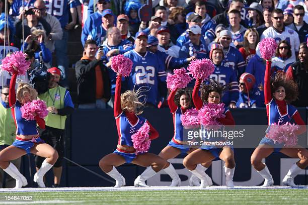 Members of the Buffalo Bills cheerleaders the Buffalo Jills perform during a break in the action during an NFL game against the Tennessee Titans at...