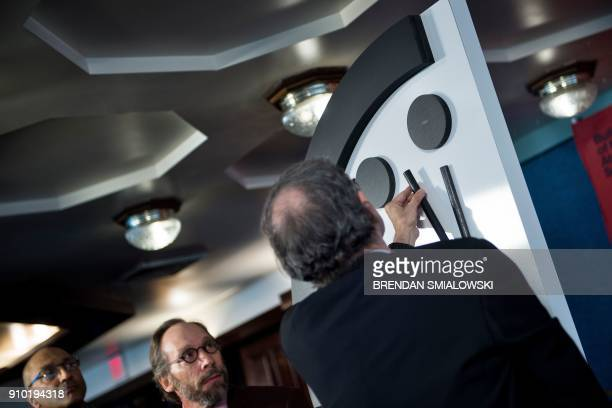 Members of the Bulletin of the Atomic Scientists are seen during their Doomsday Clock event on January 25 2018 in Washington DC Mounting concerns...