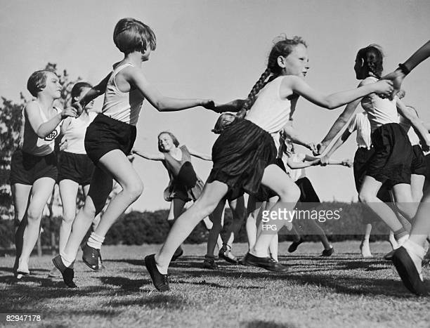 Members of the Bund Deutscher Madel the girls' Hitler Youth organization playing on the Reichssportfeld in Berlin 5th May 1938
