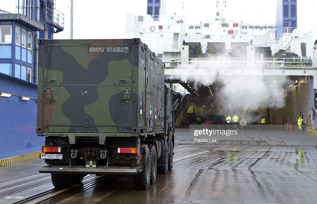 Members of the Bundeswehr, Germany's armed forces, load parts of a Patriot anti-missile system onto a ship for transport to Turkey on January 8, 2013 in Travemunde, Germany. Germany is deploying two Patriot batteries and 400 troops as part of a NATO operation that also involves Dutch and U.S. Patriot units to defend Turkey from possible Syrian attack.