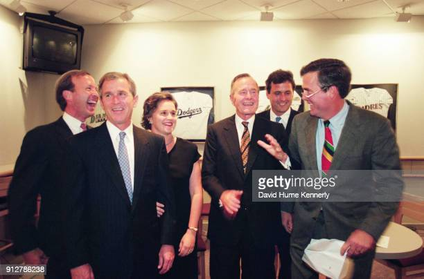 Members of the Bush family together at the Astrodome during part of the gala event celebrating President George HW Bush's 75th birthday in Houston...