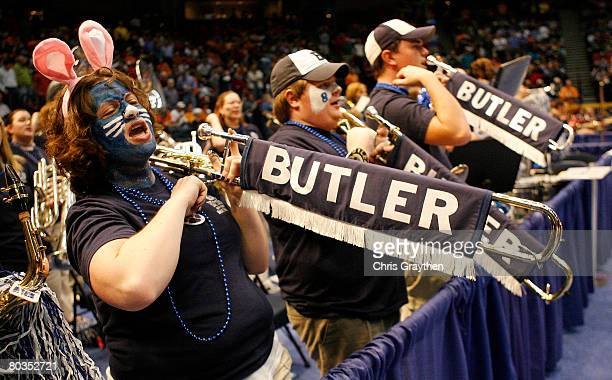 Members of the Butler Bulldogs pep band play during their game against the Tennessee Volunteers during the second round of the East Regional as part...