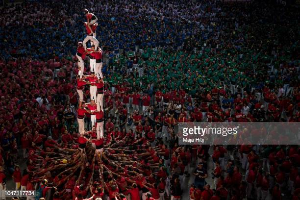 Members of the C de Barcellona built a human tower during the 27th Tarragona Competition on October 07 2018 in Tarragona Spain The 'Castellers' who...
