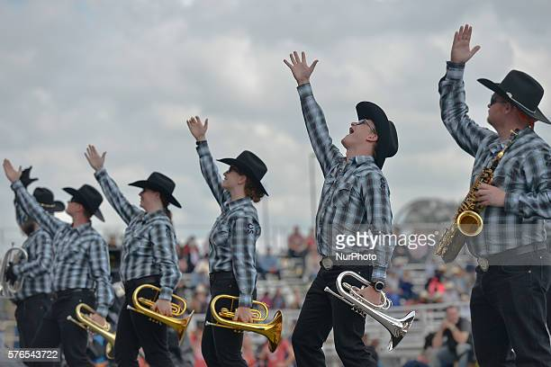 Members of the Calgary Stampede marching band in action during the Calgary Stampede 2016 On Thursday 14 July 2016 in Calgary Canada