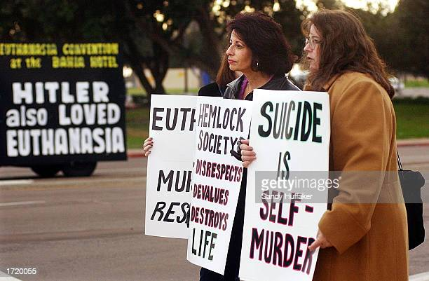 Members of the California Right to Life Coalition show their opposition to the Hemlock Society meeting at the Bahia resort January 10 2003 in San...