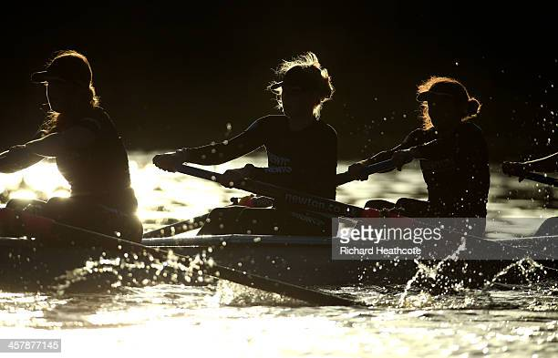 Members of the Cambridge crews in action during the Women's University Boat Race Trial 8's race on The River Thames on December 19, 2013 in London,...
