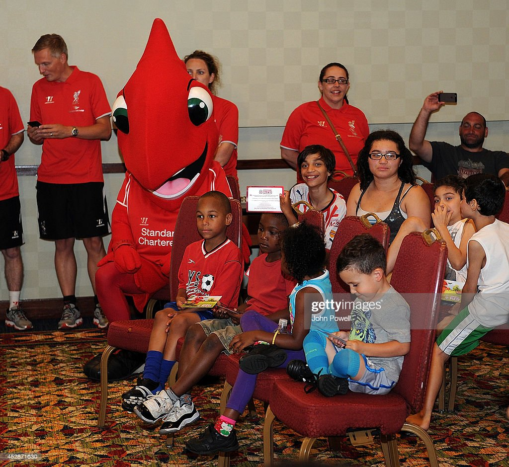 Members of the Camden Youth Soccer Club attend a Q and A session with Conor Cody of Liverpool, Lucas of Liverpool and Mamadou Sakho of Liverpool at the Liverpool team totel on July 28, 2014 in Princeton, New Jersey.