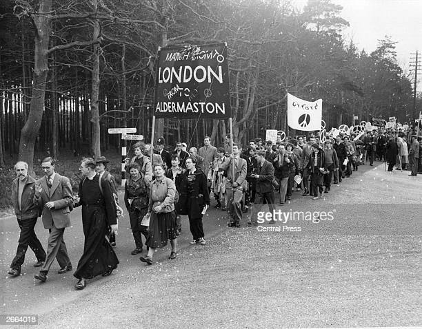Members of the Campaign for Nuclear Disarmament leave the Government Atomic Research Centre at Aldermaston on their annual protest march to London