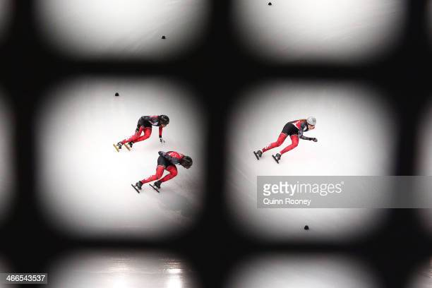 Members of the Canada Short Track speed skating team practice ahead of the Sochi 2014 Winter Olympics at Iceberg Skating Palace on February 2, 2014...