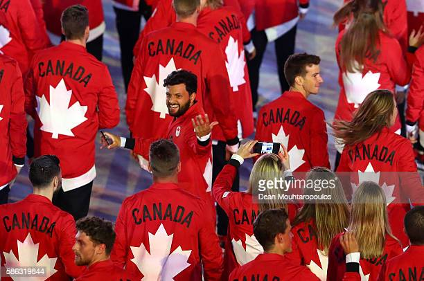 Members of the Canada team enter the stadium during the Opening Ceremony of the Rio 2016 Olympic Games at Maracana Stadium on August 5, 2016 in Rio...