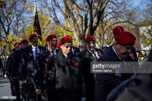 Members of the Canadian Forces march onto the parade during a Remembrance Day ceremony which marks the anniversary of the official end of the World...