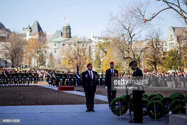 Members of the Canadian Forces stand in silence during a Remembrance Day ceremony which marks the anniversary of the official end of the World War I...