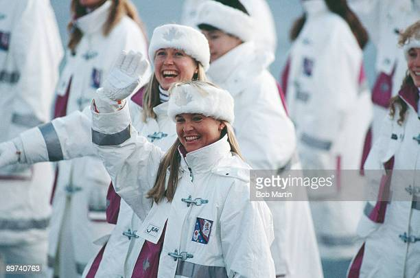 Members of the Canadian team at the opening ceremony of the Winter Olympics at the Theatre des Ceremonies Albertville Canada 8th February 1992