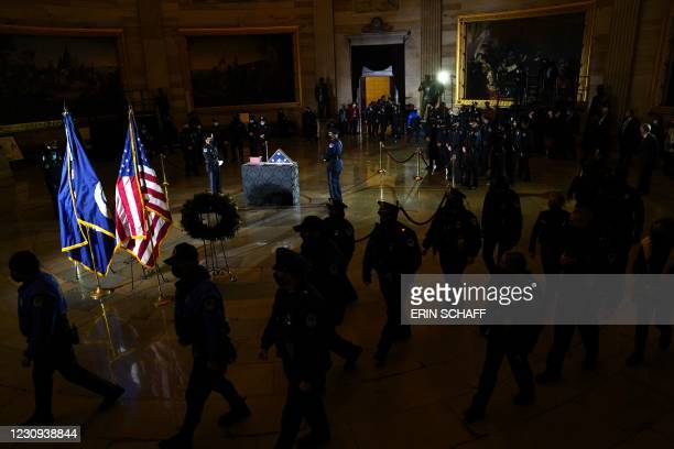 Members of the Capitol Police pay their respects to the late Capitol Police officer Brian Sicknick who lies in honor in the Rotunda of the Capitol in...