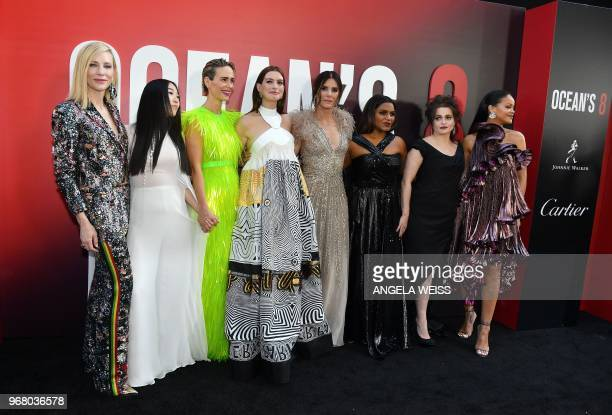 Members of the cast Australian actress Cate Blanchett rapper/actress Awkwafina US actresses Sarah Paulson Anne Hathaway Sandra Bullock Mindy Kaling...