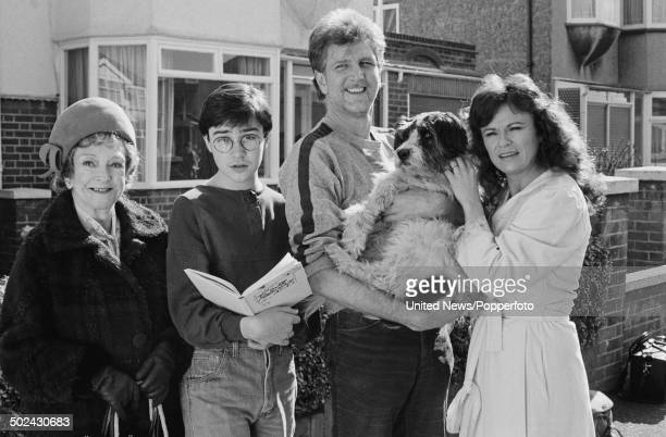 Members of the cast from the television series 'The Secret Diary of Adrian Mole' pictured together on 18th March 1985 From left to right Beryl Reid...