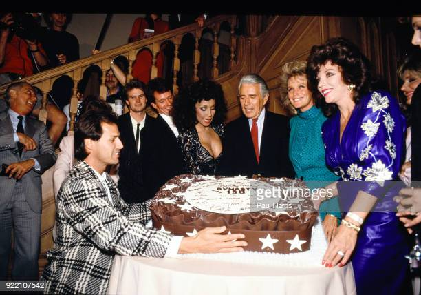 Members of the cast including Diahann Carroll Joan Collins John Forsythe and Linda Evans at a party celebrating the production of 150 episodes of...