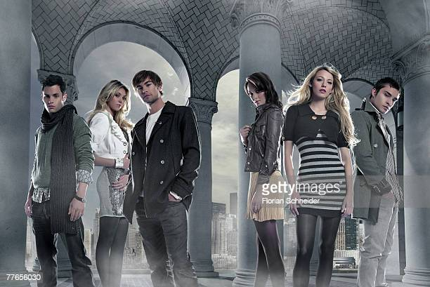 Members of the cast of Gossip Girl pose at a portrait session for Movieline Magazine in Los Angeles CA Penn Badgley Taylor Momsen Chace Crawford...