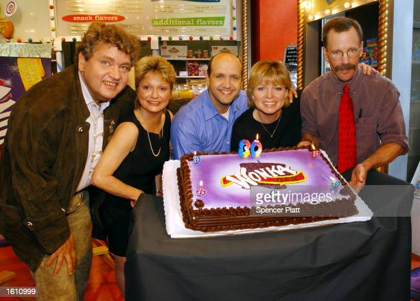 Members of the cast of the film Willy Wonka The Chocolate Factory pose during a celebration marking the 30th anniversary of the film and the release...