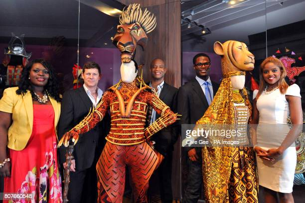 Members of the cast of the Lion King musical Brown Lindiwe Mkhize George Asprey Shaun Escoffery Andile Gumbi and Narran McLean pose with donated...