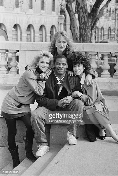Members of the cast of the television series CATS Eyes posed together in London on 26th March 1986 Clockwise from left Lesley Ash Tracy Louise Ward...