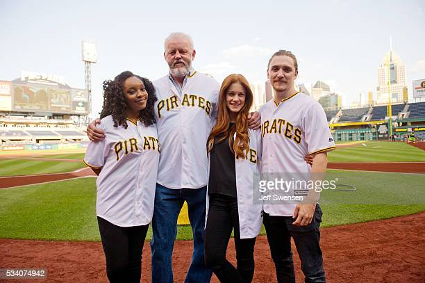 Members of the cast of the WGN America's Outsiders Christina Jackson David Morse Gillian Alexy and Kyle Gallner attend a Pittsburgh Pirates game at...