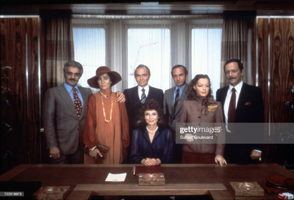 Members of the cast on the set of 'Bloodline', directed by Terence Young, 1979. Left to right: Omar Sharif, Irene Papas, James Mason, Audrey Hepburn, Ben Gazzara, Romy Schneider and Maurice Ronet.