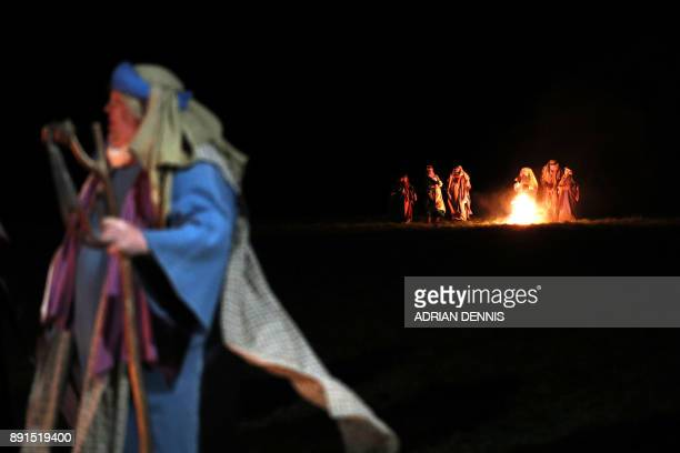 Members of the cast perform during the dress rehearsal of The Wintershall Nativity the annual nativity play performed in a barn on the Wintershall...