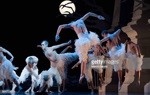 Members of the cast perform Matthew Bourne's 'Swan Lake' at Saddlers Wells Theatre on December 15, 2009 in London, England. This production was first...