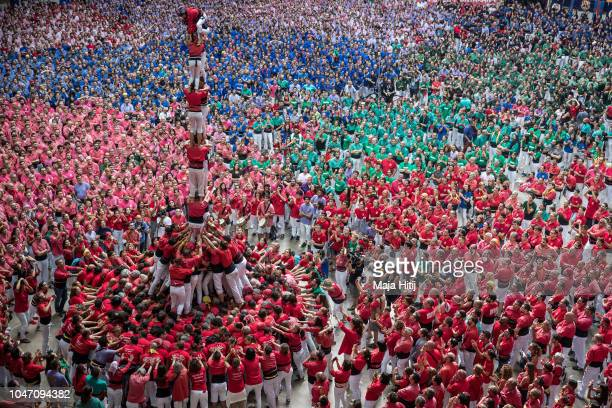 Members of the Castellers de Barcelona built a human tower during the 27th Tarragona Competition on October 07 2018 in Tarragona Spain The...