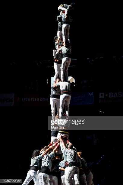 Members of the Castellers de Sants build a human tower during the 27th Tarragona Competition on October 07 2018 in Tarragona Spain The 'Castellers'...