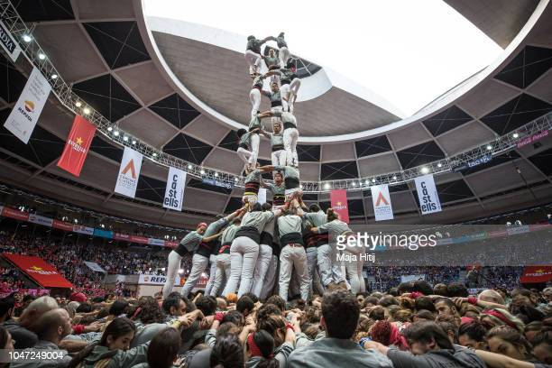 Members of the Castellers de Sants built a human tower during the 27th Tarragona Competition on October 07 2018 in Tarragona Spain The 'Castellers'...