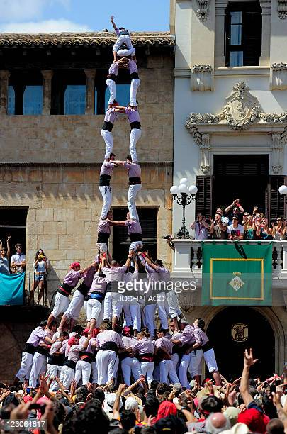 Members of the ''Castellers de Vilafranca' team form a human tower on August 30 during a human tower contest in Vilafranca of Penedes eastern Spain...