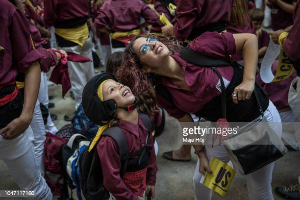 Members of the Castellers DEsparreguera arrive to the 27th Tarragona Competition on October 06 2018 in Tarragona Spain The 'Castellers' who build the...