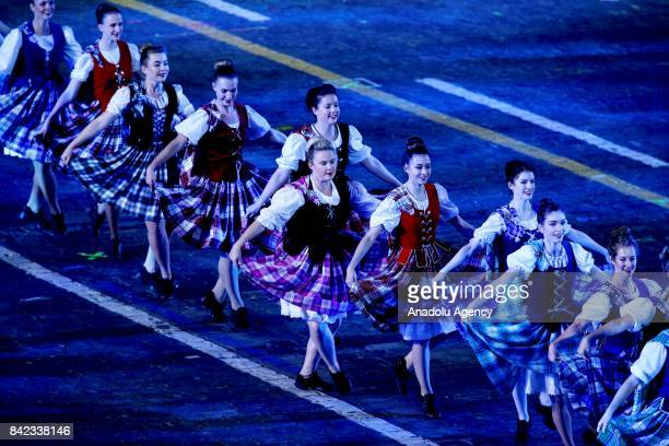 Members of the Celtic Massed Pipes and Drums perform during the closing of 2017 Spasskaya Tower International Military Music Festival at the Red...