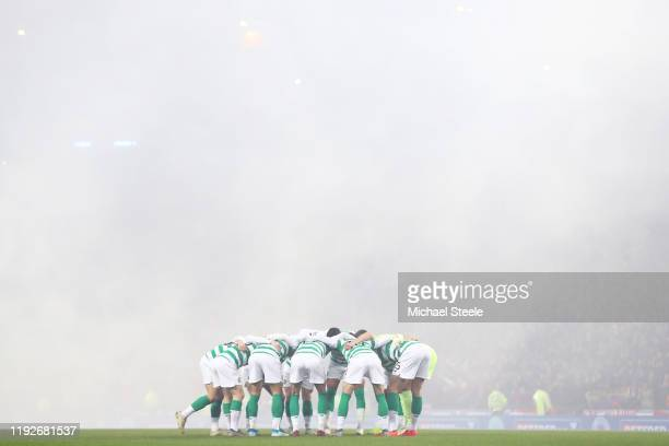 Members of the Celtic team huddle during the Betfred Cup Final between Rangers FC and Celtic FC at Hampden Park on December 08 2019 in Glasgow...
