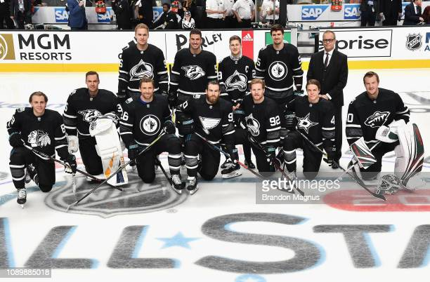 Members of the Central Division team of the Western Conference pose for a team photo during the 2019 Honda NHL AllStar Game at SAP Center on January...