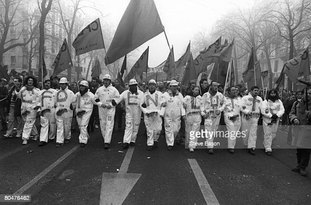 Members of the CFDT in Paris join a million people throughout France demonstrating against Juppe's welfare cuts during the three week general strike...