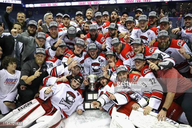 Members of the Charlotte Checkers celebrate after a win against the Chicago Wolves during game Five of the Calder Cup Finals at Allstate Arena on...