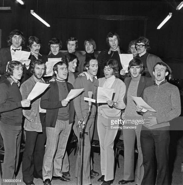 Members of the Chelsea football team record the song 'Blue is the Colour' to coincide with their appearance in the League Cup, UK, 3rd February 1972....