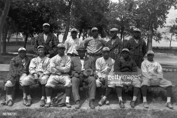 "Members of the Chicago American Giants pose for a team portrait in 1914 in Chicago, Illinois. Billy ""Little Corporal"" Francis , Richard ""Dick""..."