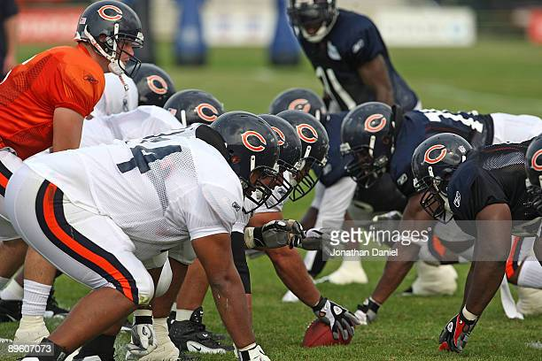82b925bdb624a1 Members of the Chicago Bears get set for a play during a training camp  practice at