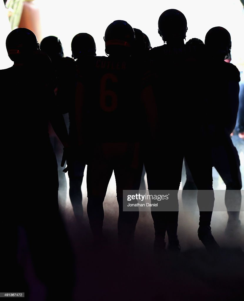 Members of the Chicago Bears wait in the tunnel for player introductions before a game against the Oakland Raiders at Soldier Field on October 4, 2015 in Chicago, Illinois.