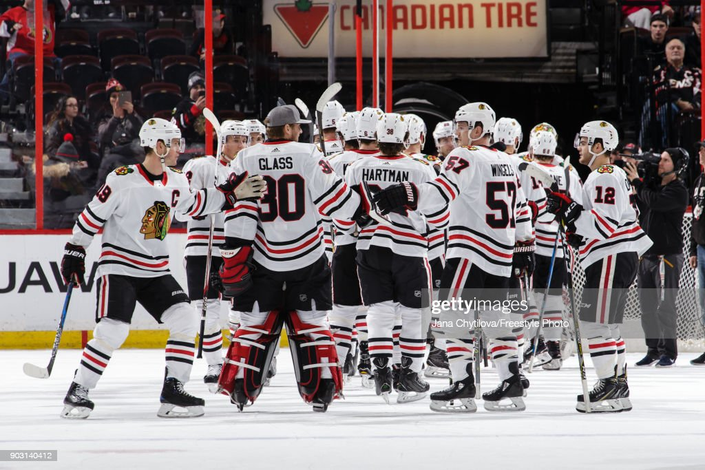 Members of the Chicago Blackhawks celebrate their win against the Ottawa Senators at Canadian Tire Centre on January 9, 2018 in Ottawa, Ontario, Canada.