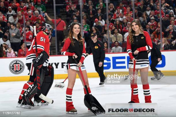 Members of the Chicago Blackhawks icecrew pose for a photo during the game between the Chicago Blackhawks and the Buffalo Sabres at the United Center...