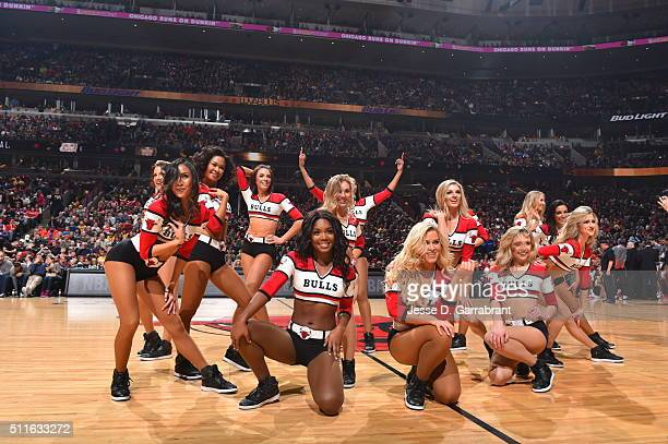 Members of the Chicago Bulls dance team perform for the crowd against the Los Angeles Lakers on February 21 2016 at the United Center in Chicago...