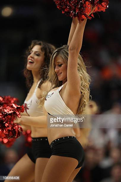 Members of the Chicago Bulls dance team The Luvabulls perform during a game between the Bulls and the Dallas Mavericks at the United Center on...