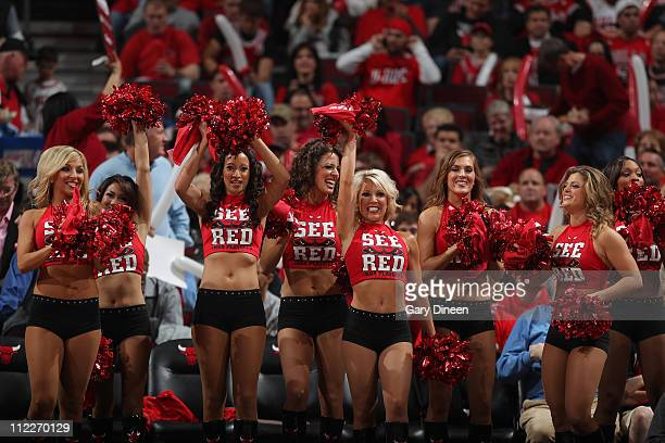 Members of the Chicago Bulls dance team The Luvabulls perform during Game One of the Eastern Conference Quarterfinals in the 2011 NBA Playoffs...