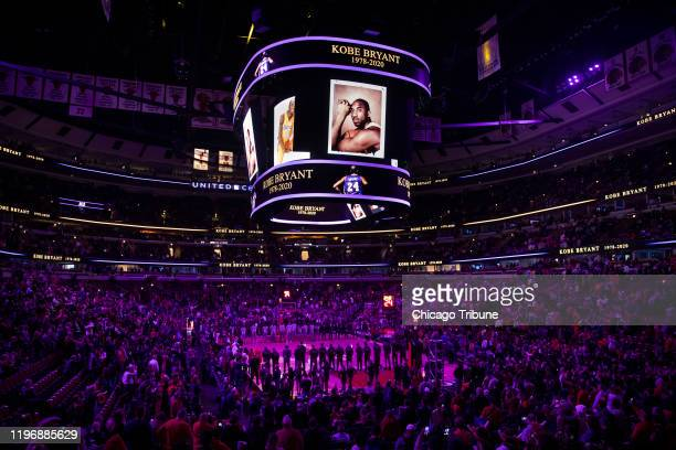 Members of the Chicago Bulls, San Antonio Spurs, and fans observe a tribute and moment of silence for Kobe Bryant before the first half at the United...